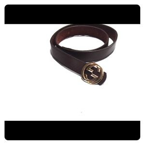 Leather Gucci belt interlocking G